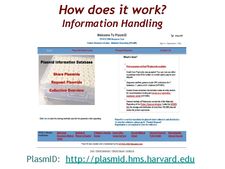 How does it work? Information Handling Plasm. ID: http: //plasmid. hms. harvard. edu