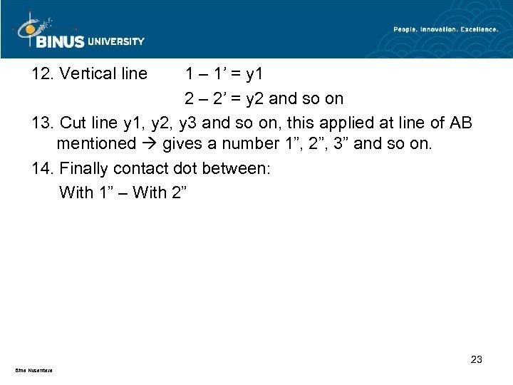 12. Vertical line 1 – 1' = y 1 2 – 2' = y