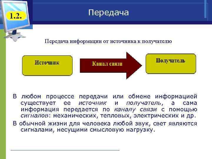 1. 2. Передача информации от источника к получателю В любом процессе передачи или обмене