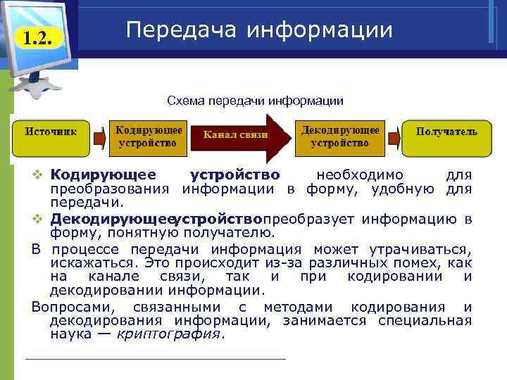 1. 2. Передача информации Схема передачи информации v Кодирующее устройство необходимо для преобразования информации