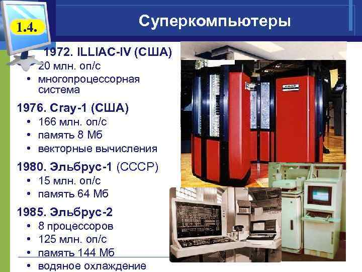 Суперкомпьютеры 1. 4. 1972. ILLIAC-IV (США) • 20 млн. оп/c • многопроцессорная система 1976.