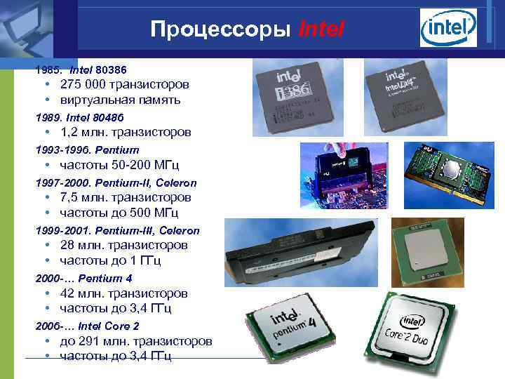 Процессоры Intel 1985. Intel 80386 • 275 000 транзисторов • виртуальная память 1989. Intel
