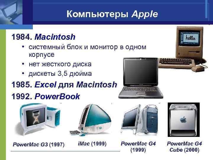 Компьютеры Apple 1984. Macintosh • системный блок и монитор в одном корпусе • нет