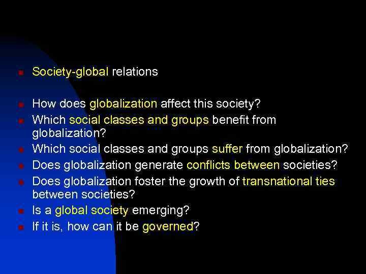 n n n n Society-global relations How does globalization affect this society? Which social