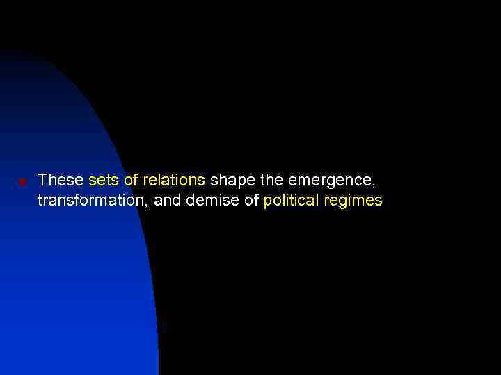 n These sets of relations shape the emergence, transformation, and demise of political regimes
