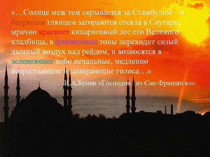 «…Солнце меж тем скрывается за Стамбулом – и багряным глянцем загораются стекла в