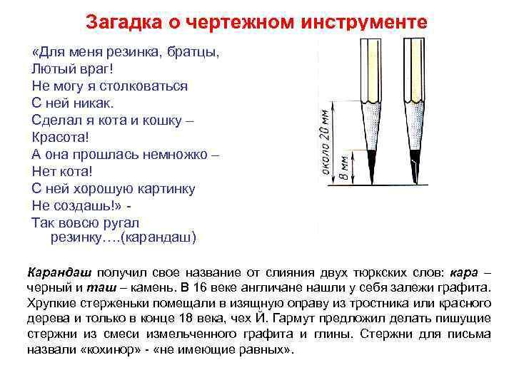 Загадка о чертежном инструменте «Для меня резинка, братцы, Лютый враг! Не могу я столковаться