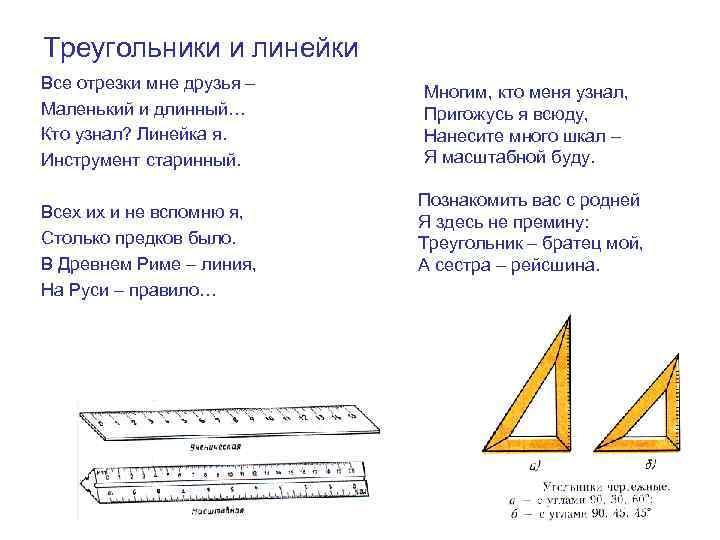 Треугольники и линейки Все отрезки мне друзья – Маленький и длинный… Кто узнал? Линейка
