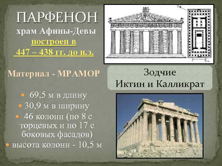 ПАРФЕНОН храм Афины-Девы построен в 447 – 438 гг. до н. э. Материал -