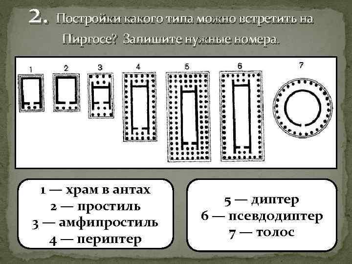 2. Постройки какого типа можно встретить на Пиргосе? Запишите нужные номера. 1 — храм