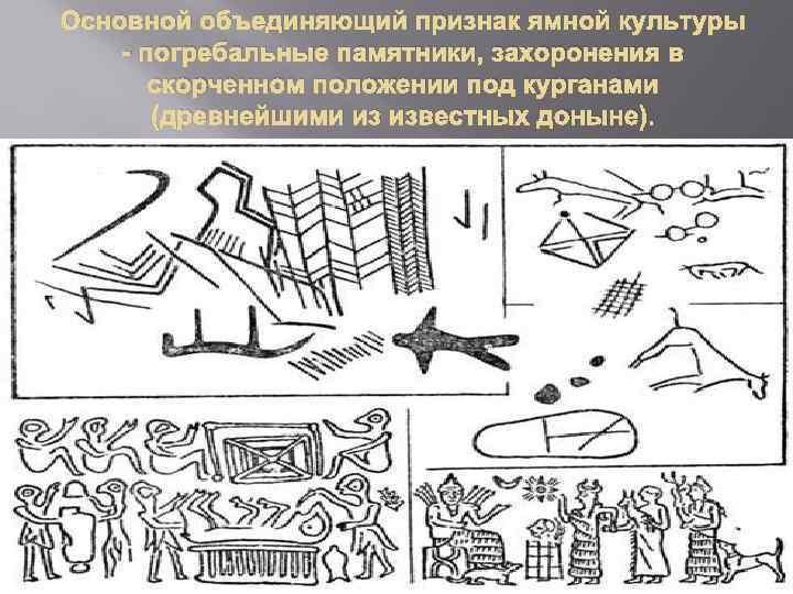 Основной объединяющий признак ямной культуры - погребальные памятники, захоронения в скорченном положении под курганами