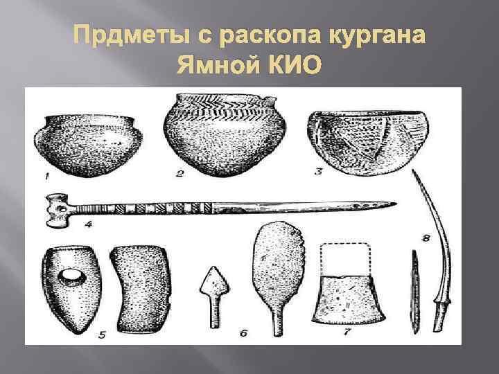 Прдметы с раскопа кургана Ямной КИО