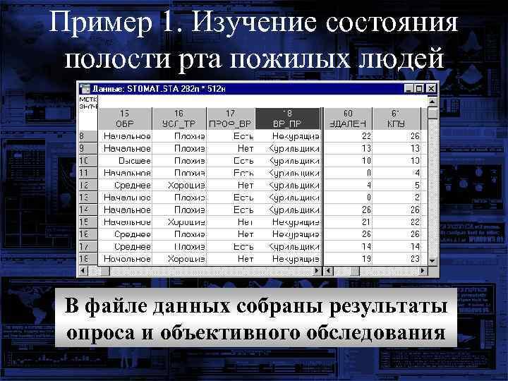Пример 1. Изучение состояния полости рта пожилых людей В файле данных собраны результаты опроса
