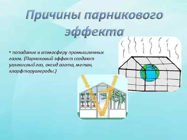 Причины парникового эффекта • попадание в атмосферу промышленных газов. (Парниковый эффект создают углекислый газ,