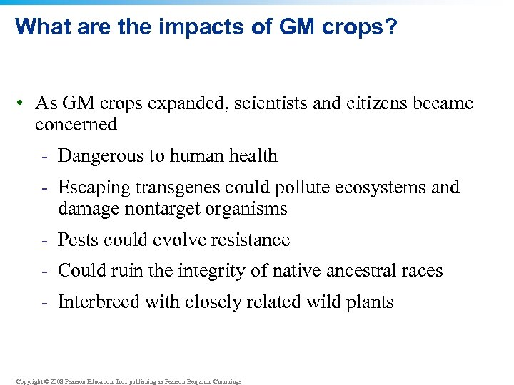What are the impacts of GM crops? • As GM crops expanded, scientists and