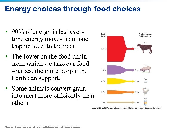 Energy choices through food choices • 90% of energy is lost every time energy