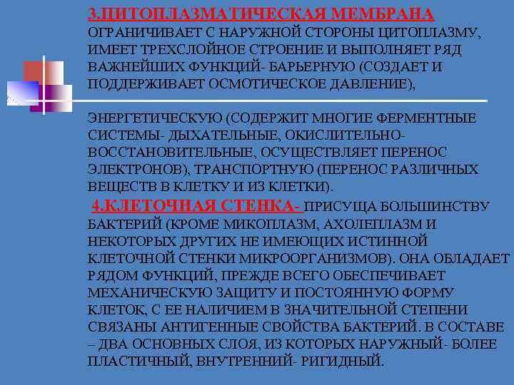 3. ЦИТОПЛАЗМАТИЧЕСКАЯ МЕМБРАНА ОГРАНИЧИВАЕТ С НАРУЖНОЙ СТОРОНЫ ЦИТОПЛАЗМУ, ИМЕЕТ ТРЕХСЛОЙНОЕ СТРОЕНИЕ И ВЫПОЛНЯЕТ РЯД