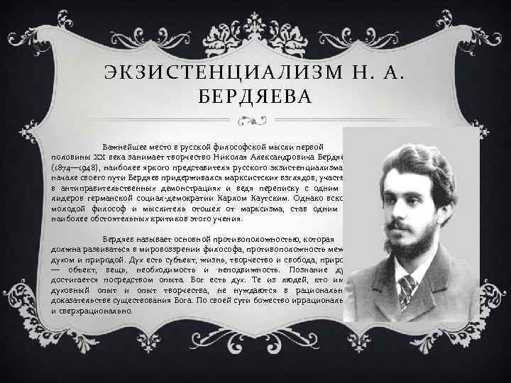 ЭКЗИСТЕНЦИАЛИЗМ Н. А. БЕРДЯЕВА Важнейшее место в русской философской мысли первой половины XX века
