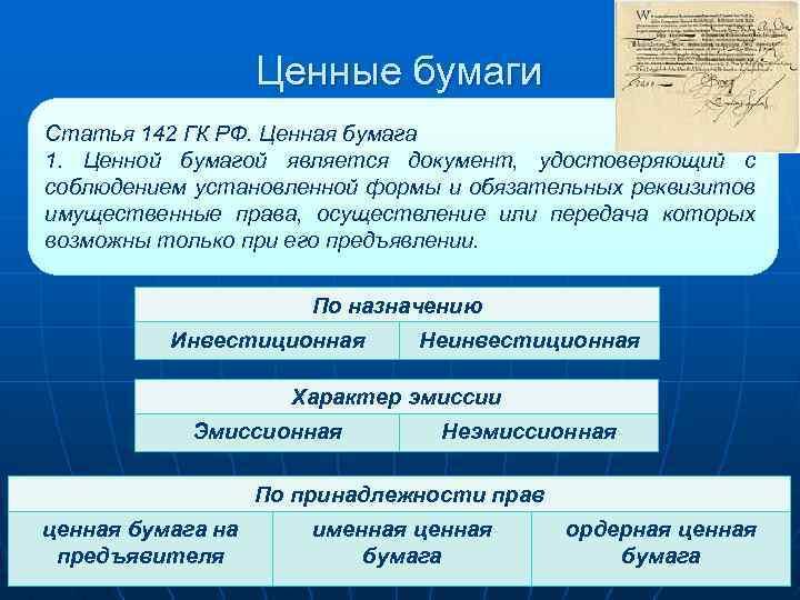 Ценные бумаги Статья 142 ГК РФ. Ценная бумага 1. Ценной бумагой является документ, удостоверяющий