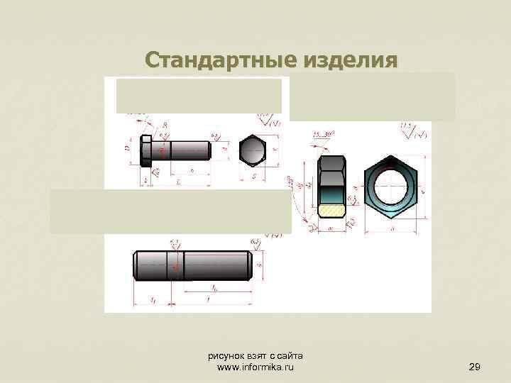 Стандартные изделия рисунок взят с сайта www. informika. ru 29