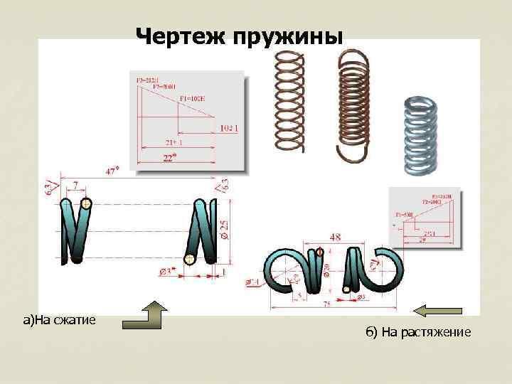 Чертеж пружины а)На сжатие б) На растяжение