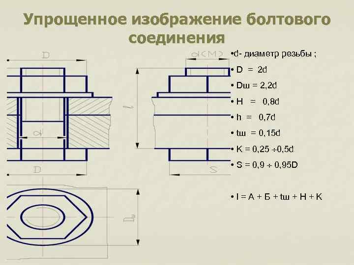 Упрощенное изображение болтового соединения • d- диаметр резьбы ; • D = 2 d