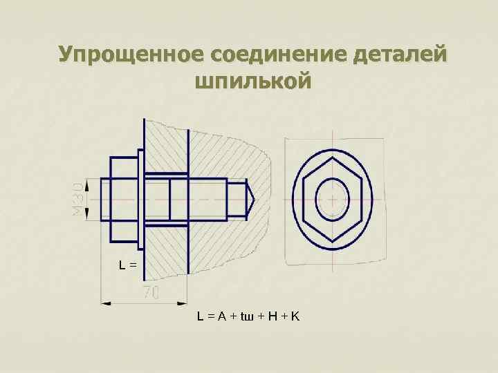 Упрощенное соединение деталей шпилькой L= L = A + tш + H + K