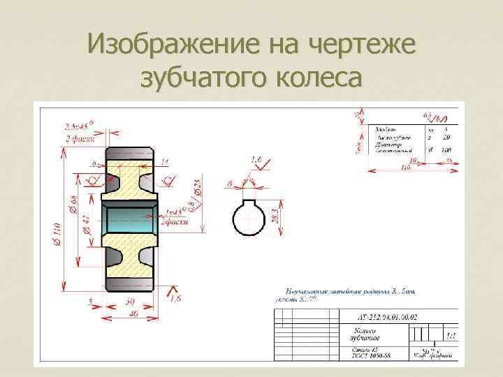 Изображение на чертеже зубчатого колеса