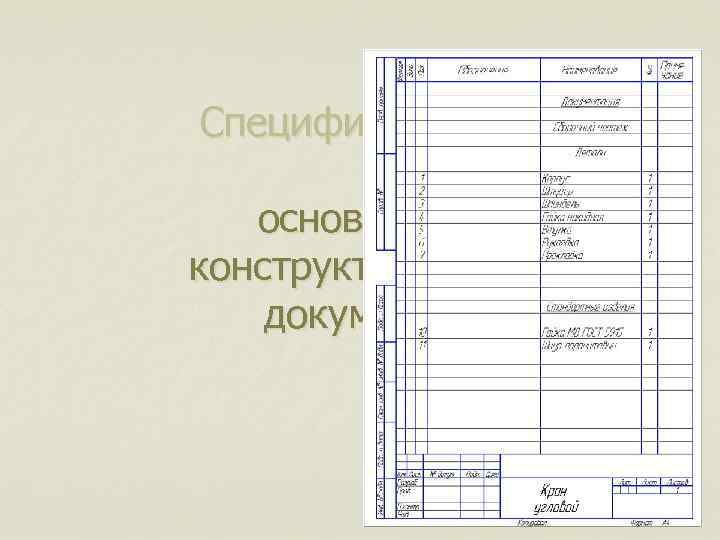 Спецификацияосновной конструкторский документ