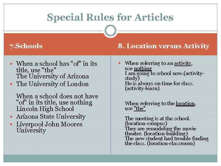 Special Rules for Articles 7. Schools 8. Location versus Activity When a school has