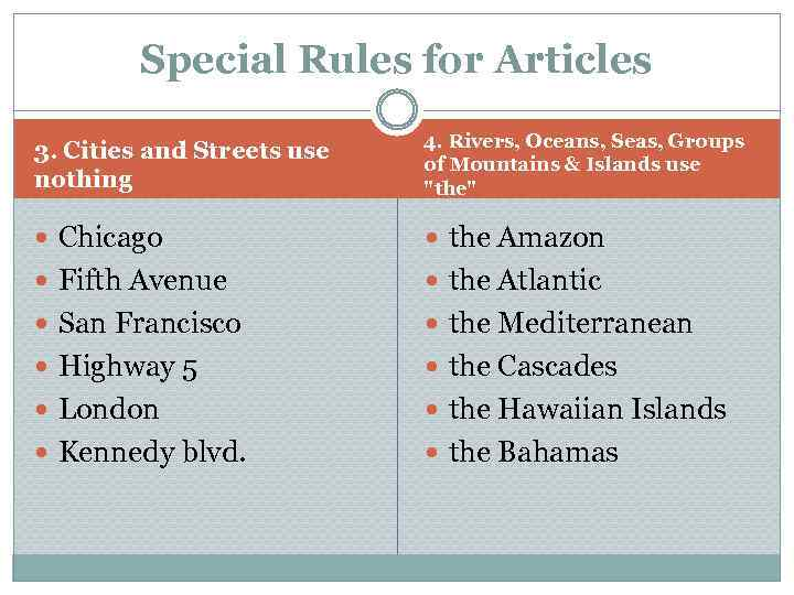 Special Rules for Articles 3. Cities and Streets use nothing 4. Rivers, Oceans, Seas,
