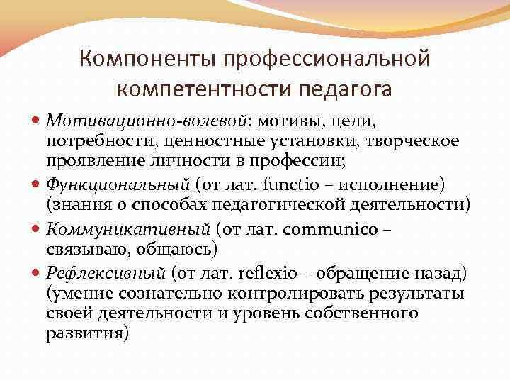 Компоненты профессиональной компетентности педагога Мотивационно-волевой: мотивы, цели, потребности, ценностные установки, творческое проявление личности в