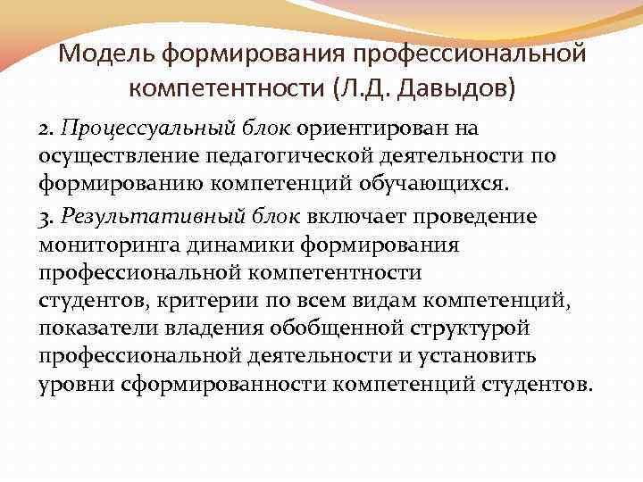 Модель формирования профессиональной компетентности (Л. Д. Давыдов) 2. Процессуальный блок ориентирован на осуществление педагогической