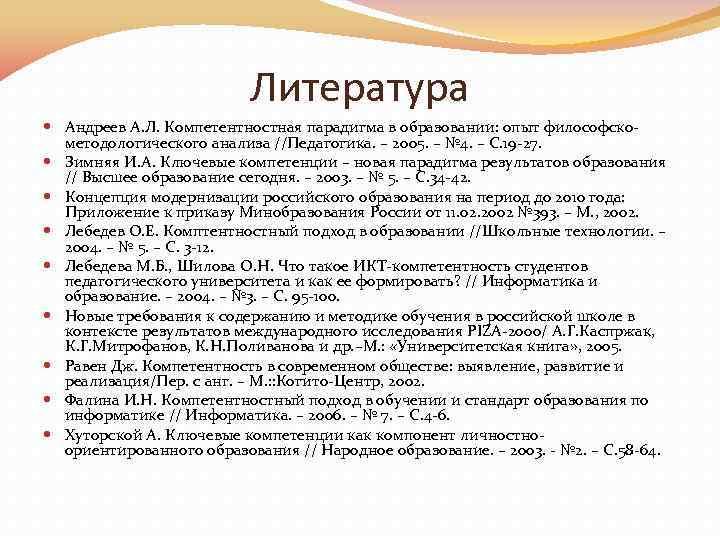 Литература Андреев А. Л. Компетентностная парадигма в образовании: опыт философско методологического анализа //Педагогика. –