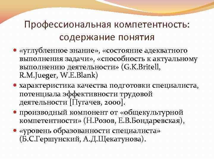 Профессиональная компетентность: содержание понятия «углубленное знание» , «состояние адекватного выполнения задачи» , «способность к