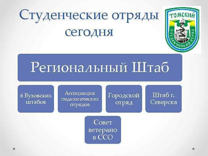 Студенческие отряды сегодня Региональный Штаб 6 Вузовских штабов Ассоциация педагогических отрядов Городской отряд Совет