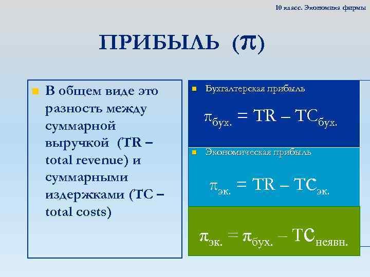 10 класс. Экономика фирмы ПРИБЫЛЬ (π) n В общем виде это разность между суммарной