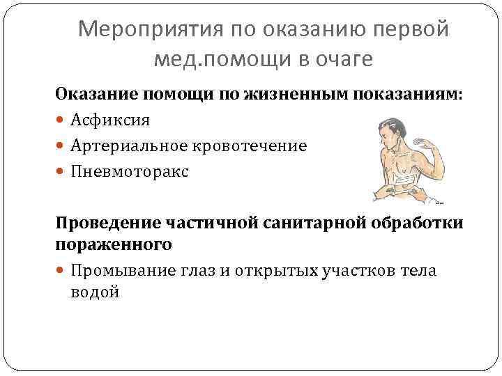 Мероприятия по оказанию первой мед. помощи в очаге Оказание помощи по жизненным показаниям: Асфиксия