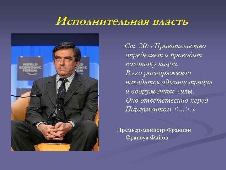 Исполнительная власть Ст. 20: «Правительство определяет и проводит политику нации. В его распоряжении находятся