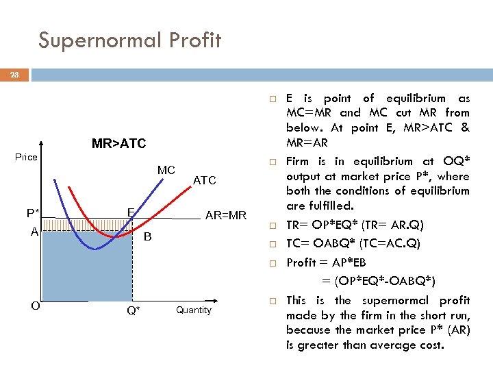 Supernormal Profit 28 MR>ATC Price MC P* E A ATC AR=MR B O Q*
