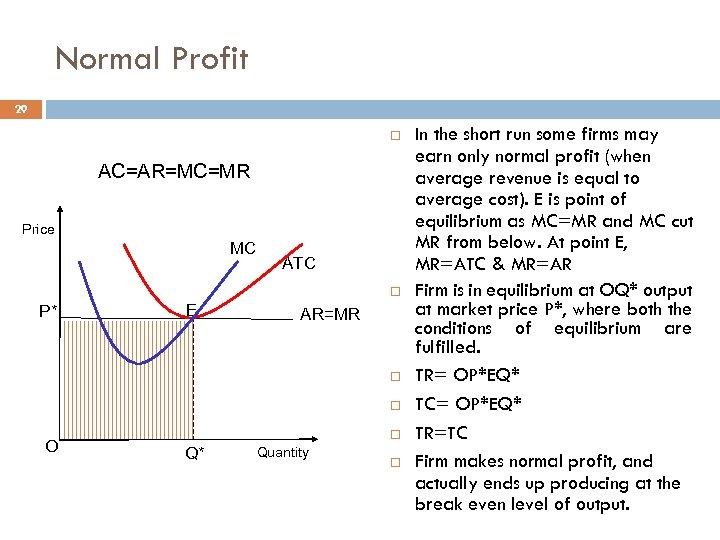 Normal Profit 29 AC=AR=MC=MR Price MC ATC P* E AR=MR O Q* Quantity In