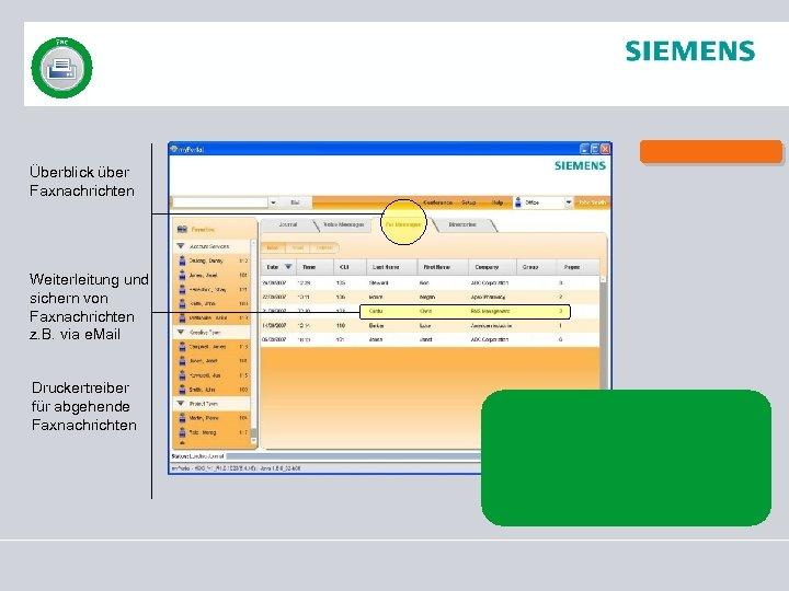 Überblick über Faxnachrichten Weiterleitung und sichern von Faxnachrichten z. B. via e. Mail Druckertreiber