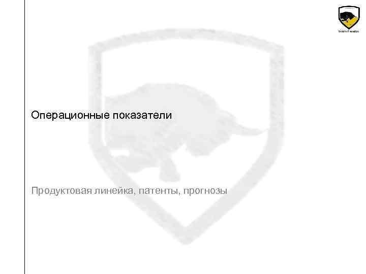 Операционные показатели Продуктовая линейка, патенты, прогнозы