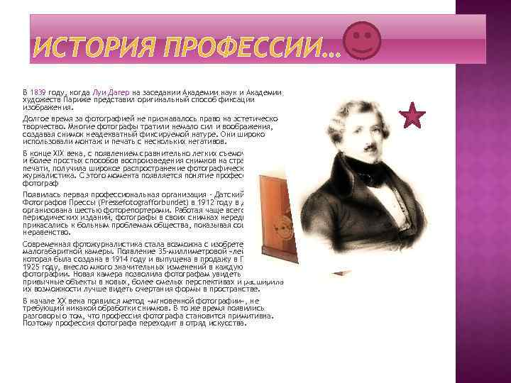 ИСТОРИЯ ПРОФЕССИИ… В 1839 году, когда Луи Дагер на заседании Академии наук и Академии