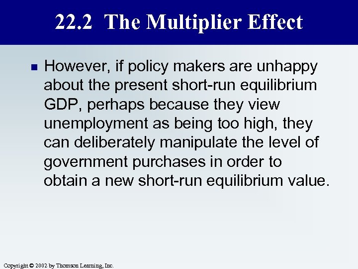 22. 2 The Multiplier Effect n However, if policy makers are unhappy about the