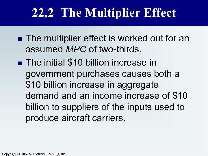 22. 2 The Multiplier Effect n n The multiplier effect is worked out for
