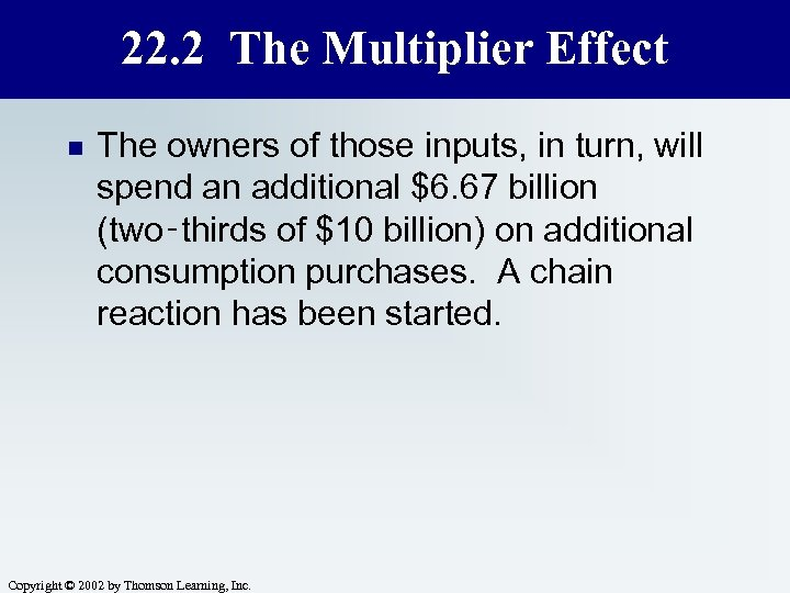 22. 2 The Multiplier Effect n The owners of those inputs, in turn, will