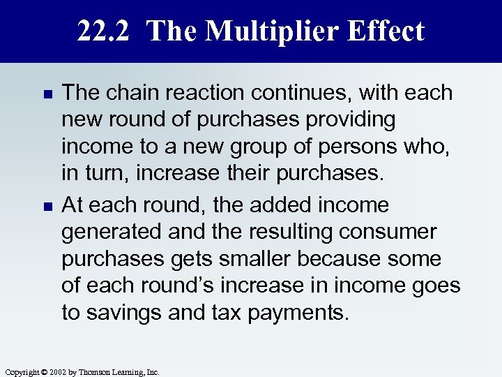22. 2 The Multiplier Effect n n The chain reaction continues, with each new
