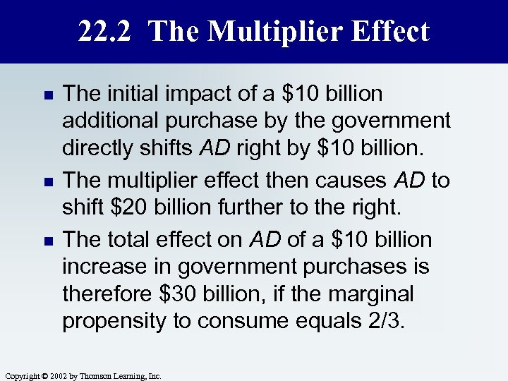 22. 2 The Multiplier Effect n n n The initial impact of a $10
