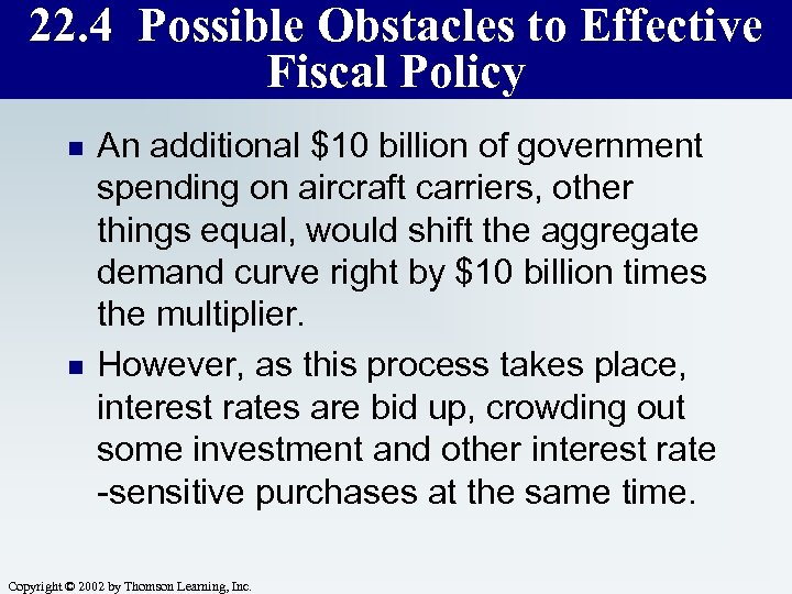 22. 4 Possible Obstacles to Effective Fiscal Policy n n An additional $10 billion